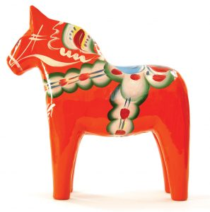 Dalecarlian (Dala) horses can be found at gift shops throughout the Chisago Lakes area