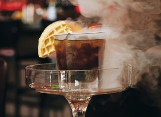 Maple Old Fashioned Smoking Gun cocktail at Brick & Bourbon
