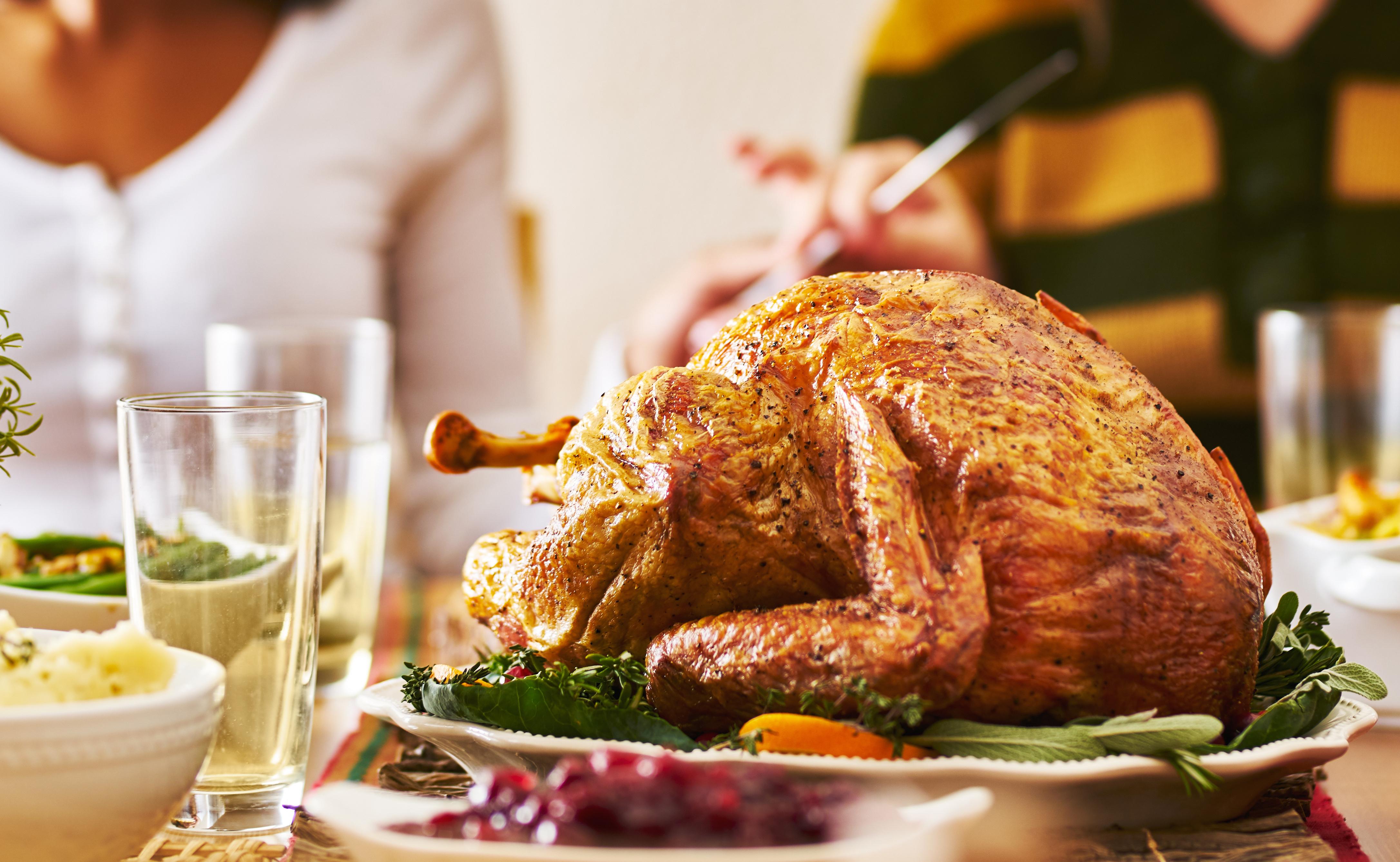 panorama of thanksgiving dinner with turkey, Joshua Resnick - Adobe Stock