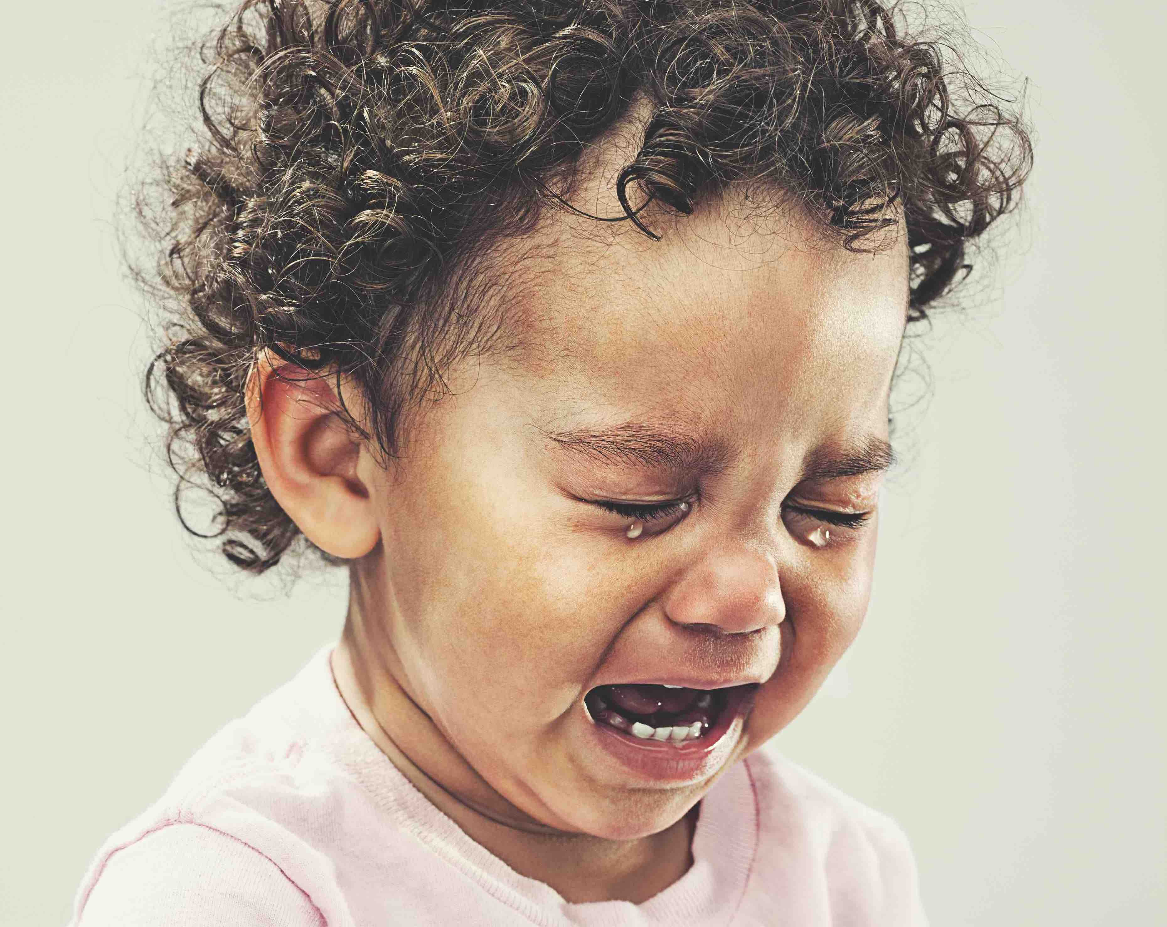 child crying during a goodbye