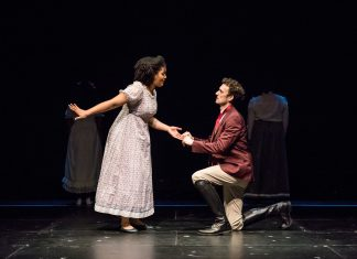 "China Brickey and Paul Rutledge as Lizzy Bennet and Fitzwilliam Darcy in Park Square Theatre's ""Pride and Prejudice."" Photo by Dan Norman."