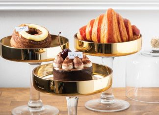 From left: croissant doughnut, black forest, bi-colored raspberry croissant
