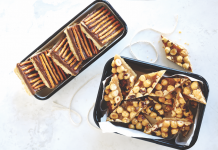 Toffee Squares with Pretzel Topping and Hazelnut and Honey Diamonds