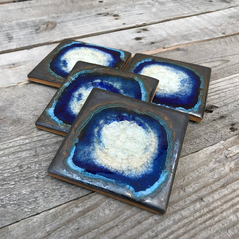 Dock 6 Pottery Geode Crackle Coasters