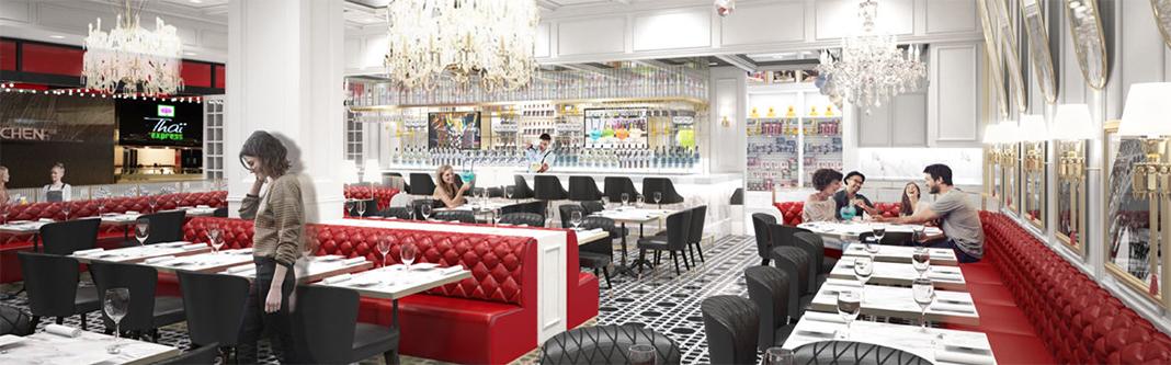 A digital rendering of Sugar Factory's dining room.