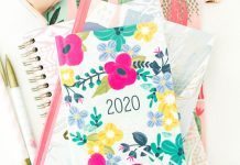 A floral 2020 planner and pens
