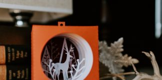 A paper cut out of a reindeer amid a holiday ornament and books on a table.