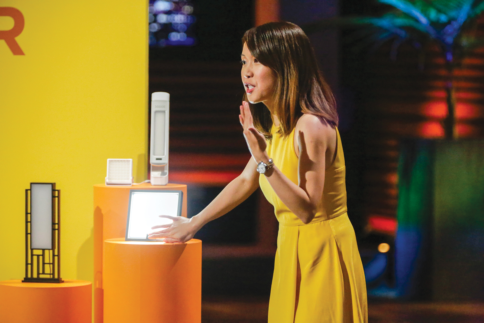 "Bemidji State grad Amber Leong pitches her idea for mood-enhancing lamps on ""Shark Tank"""