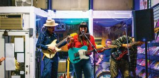 Beth Bombara performs at Rivertown Comics & Games during Big Turn Music Festival