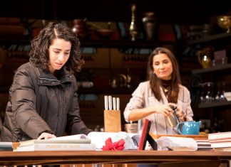 "Layan Elwazani (Maryam) and Gamze Ceylan (Noura) in the Guthrie Theater's production of ""Noura"" by Heather Raffo and directed by Taibi Magar. Photo by Dan Norman."