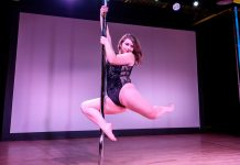 A pole dancer at the Land of Lakes Pole Competition, David Rubene Photography, courtesy Myss Angie