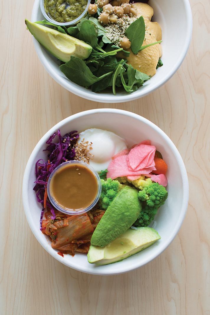 Brim's Beets & Greens (top) and kimchi rice bowls
