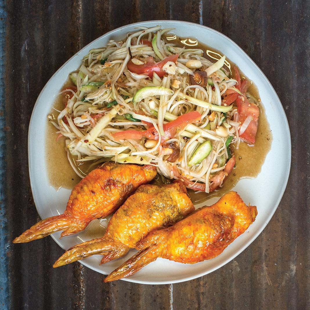 Stuffed wings and Thai papaya salad from Hmongtown Marketplace