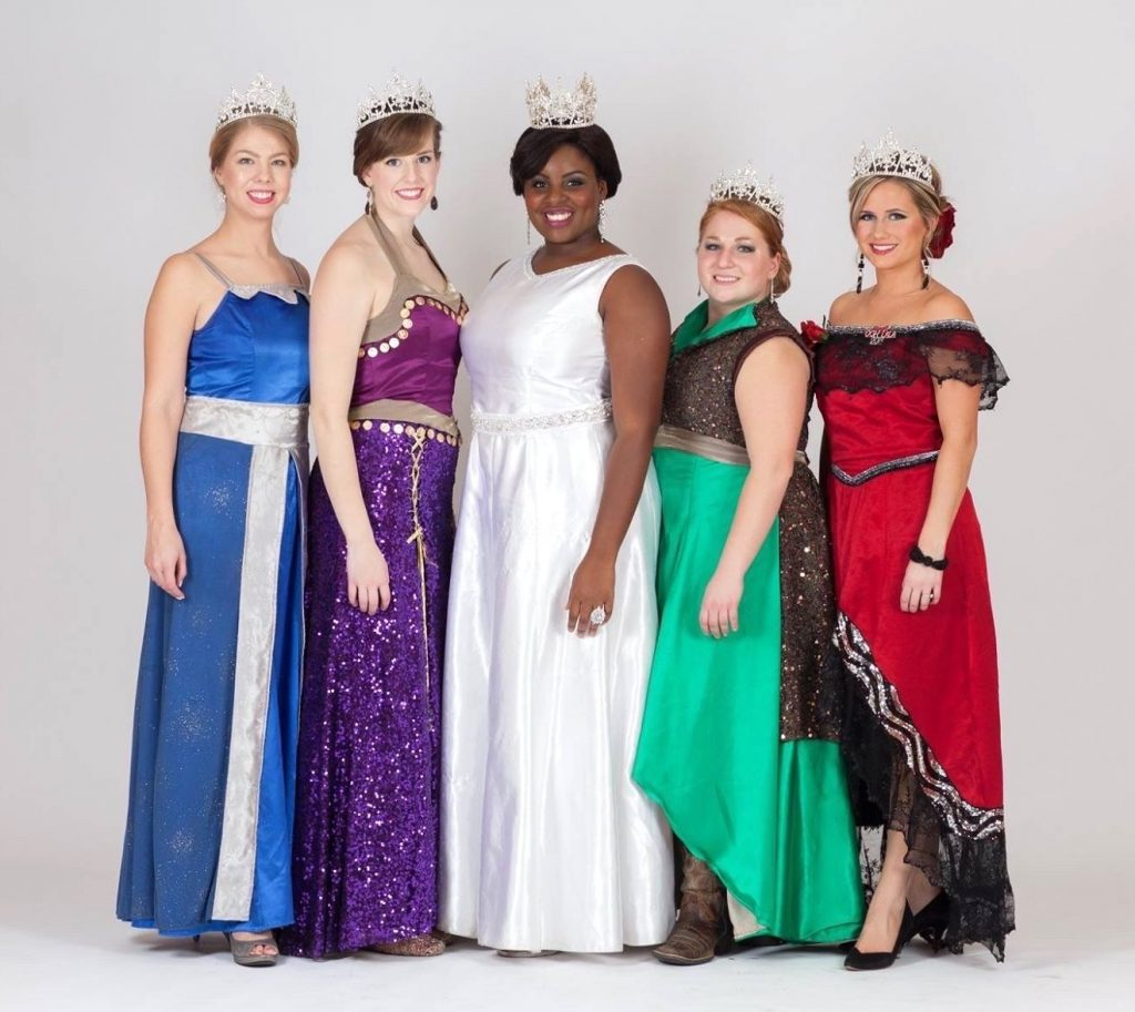 The 2015 Royal Ladies in parade costume: North Wind Princess Dana Schachtner, East Wind Princess Caitlin Stenerson, Queen Krystle Igbo Ogbonna, West Wind Princess Shelby Edmundson, and South Wind Princess Leah Garsteig; Emily and Darrin Photography