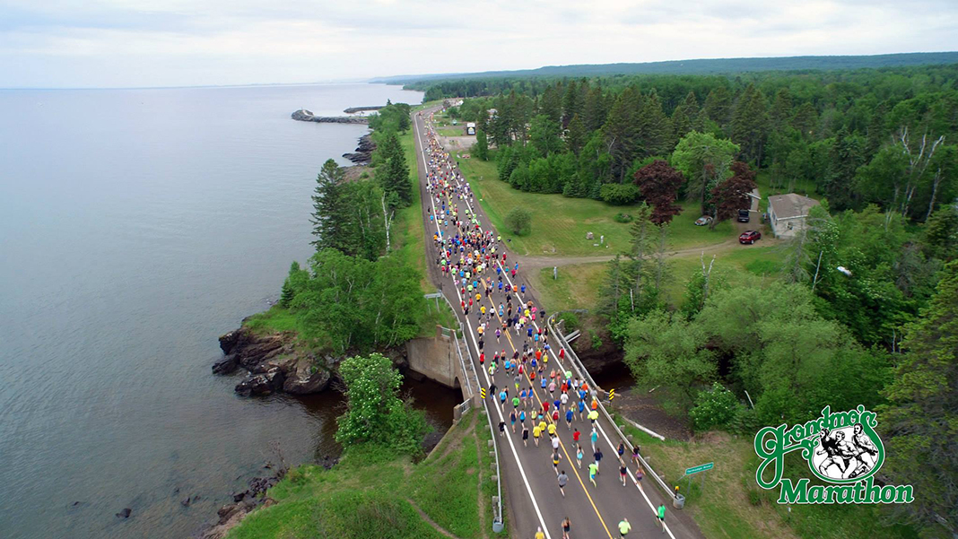 Runners participate in Grandma's Marathon in Duluth, which stretches along Lake Superior's shore.