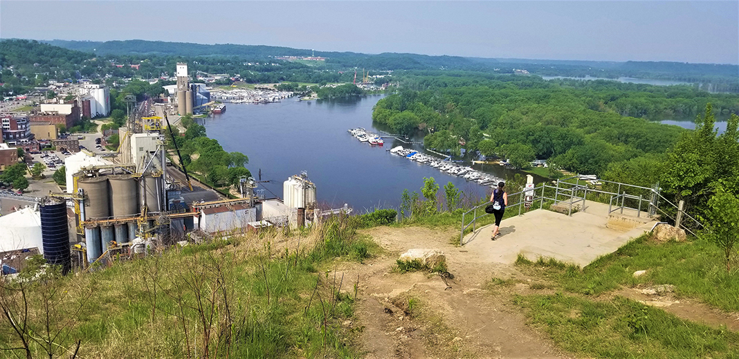 An aerial view of Barn Bluff in Red Wing, Minnesota.