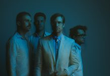 The members of Saint Motel (left to right): Aaron Sharp, Greg Erwin, A/J Jackson, and Dak Lerdamornpong. Photo by Catie Laffoon.