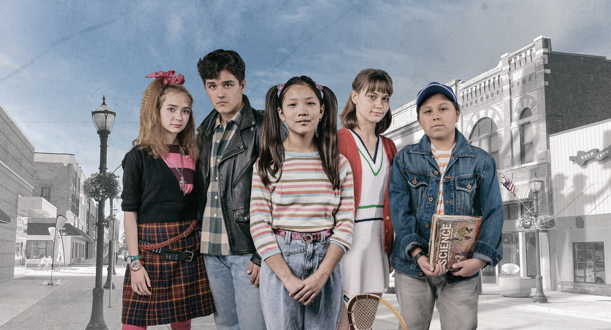 "The cast of ""Spamtown, USA,"" left to right: Arden Michalec (plays Amy Bolton); Zachary Sullivan (plays Travis Olsen); Malia Berg (plays Carol Bolton); Isabella Spiess (plays Jude Olsen); Marcelo Mena (plays Scott Olsen)"