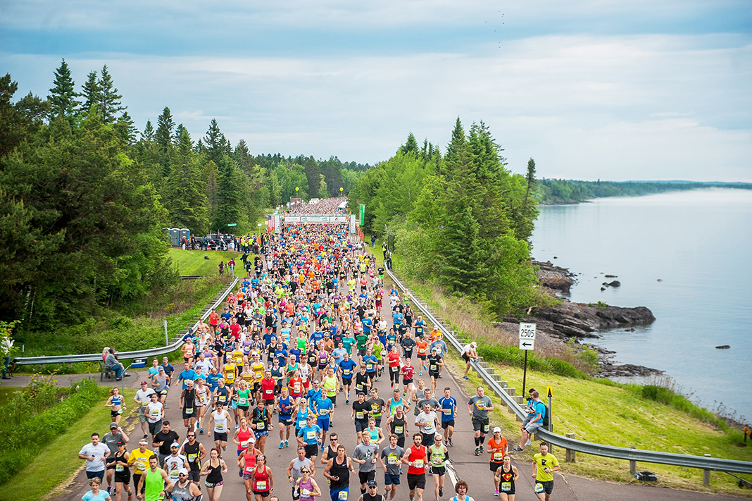 Runners participate in the Garry Bjorklund Half Marathon along Lake Superior in the greater Duluth area.