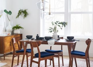 Mid-century expandable dining room table and furniture by West Elm
