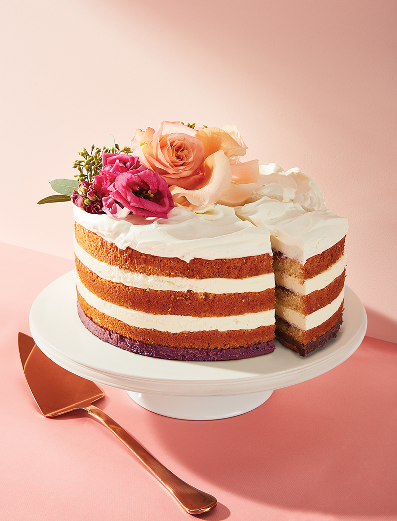 Black Walnut Bakery's Cassis Vanilla Bavarian Cake (layers of vanilla Bavarian cream and cassis preserves on chiffon sponge, cassis ganache, galette cookie base, topped with whipped cream)