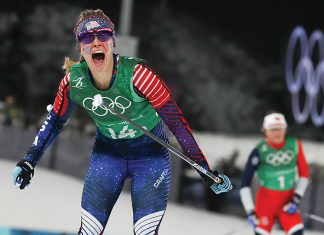 Jessie Diggins winning the United States' first-ever cross-country gold medal at the 2018 Winter Olympics in South Korea