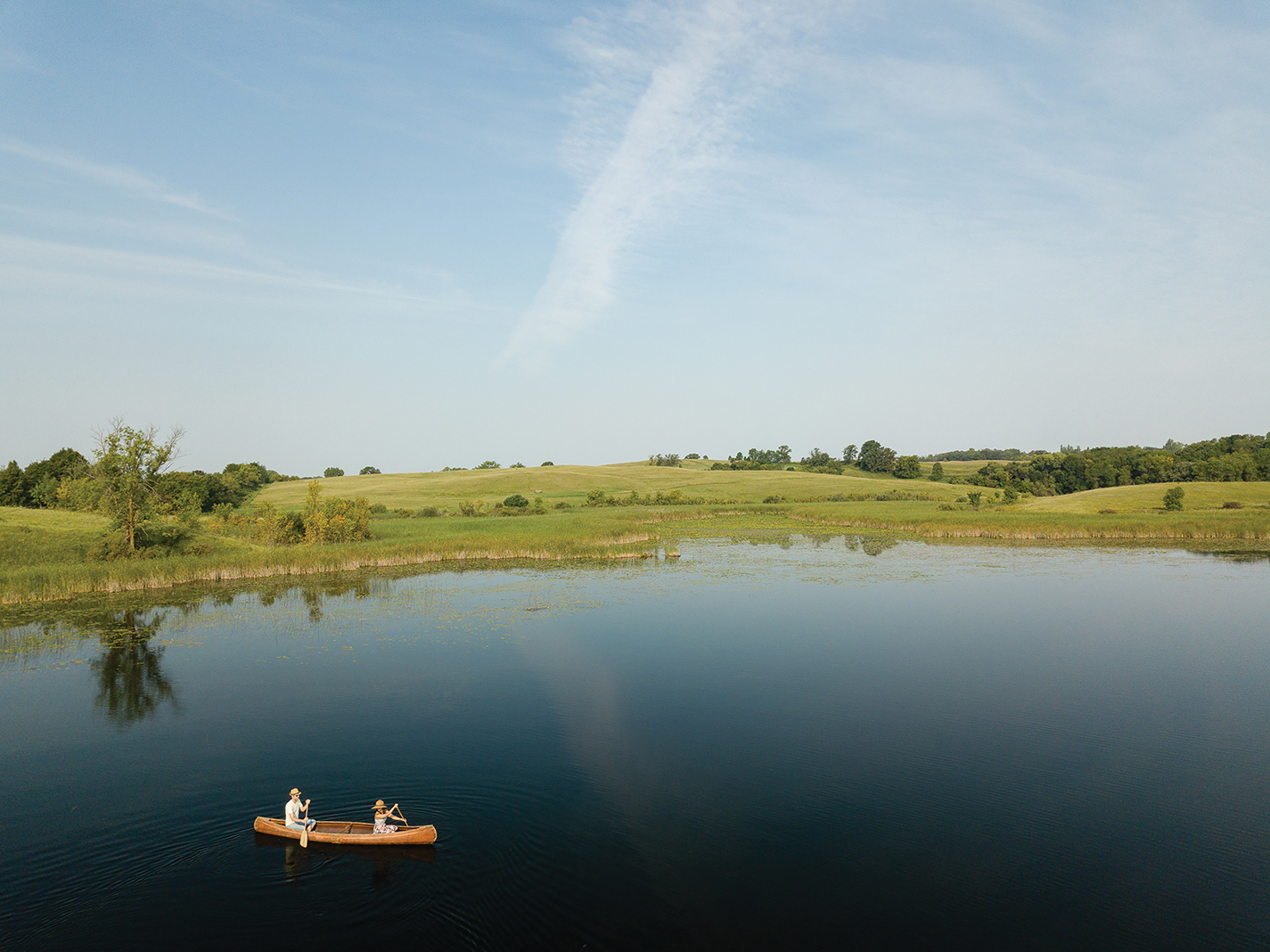 Canoeing on North Union Lake, one of 11 forming Alexandria's Chain of Lakes