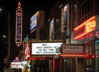 Brave New Workshop's humorous marquee cuts through uncharacteristically silent downtown Minneapolis