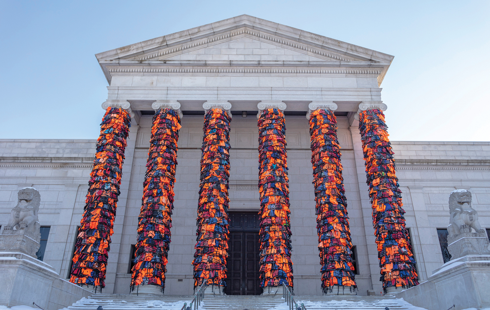 """Ai Wei Wei's """"Safe Passage,"""" installed at the Minneapolis Institute of Art for the exhibition """"When Home Won't Let You Stay: Art and Migration"""""""