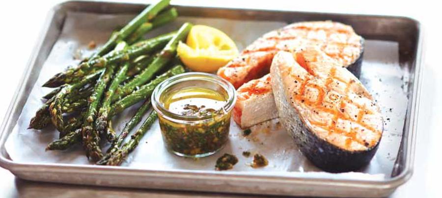 Grilled Salmon Steaks with Parsley Walnut Pesto