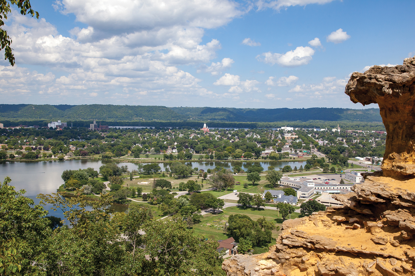 Looking over Winona from Sugar Loaf Bluff